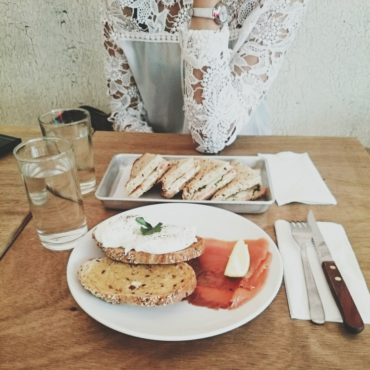 Our late lunch @ The Bravery. Poached eggs with salmon for me and salmon sandwich for Yana.